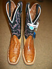 Tony Lama Women's Square Toe Full Quill Ostrich/Suede Boot #1246-L