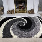 SMALL LARGE RUGS THICK BLACK GREY SOFT SHAGGY RUG NON SHED 5cm PILE MODERN RUGS