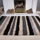 SMALL LARGE RUGS THICK SOFT SHAGGY RUG NON SHED 5cm PILE BLACK GREY STRIPES RUGS
