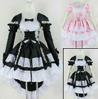 Cosplay women long sleeves dress Lolita maid waitress headband black and pink