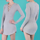 Sexy Winter Womens Lace Up Long Sleeve Solid Slim Sweater Jumper Knit Dress New