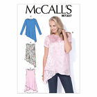 McCalls 7327 Very Easy Shaped Hem Tunic Tops XS - Plus Size Sewing Pattern M7327