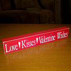 Love - Kisses - Valentine Wishes Wooden Shelf Sign - 30 Different Color Combos!