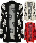 New Plus Size Womens Skull Long Sleeve Top Ladies Open Knitted Cardigan 12 - 16