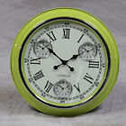 "LARGE 3 MULTI DIAL TIME ZONE CLOCK - GREEN WITH WHITE FACE 50cm (19.75"") DIA NEW"