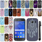For Samsung Galaxy Ace 4 LTE G357 PATTERN HARD Back Case Phone Cover + Pen