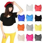 Lady Girls Pockets Crew Neck Basic T-shirt Modal Short Vest Crop Tops Fashion