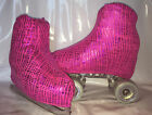 Pink Foil Crackle Boot Covers for RollerSkates and Ice Skates  S,M,L