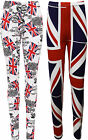 Plus Size New Ladies Union Jack Full England Leggings Long Womens Trousers 16-30