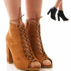 LADIES WOMENS LACE UP HIGH HEELS BLOCK HEEL PEEP TOE FASHION PARTY SHOES SIZE