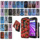 For Motorola Moto G 2015 3rd Gen XT1541 HYBRID Rubber HARD Back Case Cover + Pen