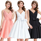 Womens Cotton V-Neck Vintage 50's Style Retro Party Pinup Swing Dress