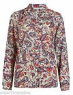 New Ex M&S Ladies Collared Long Sleeve Paisley Print Top Blouse Shirt Size 8-22