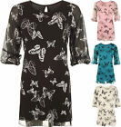 Womens Plus Chiffon Sheer Lined Buttefly Print 3/4 Sleeve Ladies Swing Top 12-22