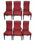 Solid Mahogany Set of 6 Tufted Carved French Louis XV Style Dining Chairs