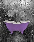 Purple Gray Wall Art Pictures, Daisy Flowers, Bathroom Floral Matted Print