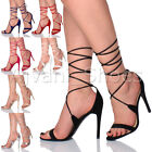 WOMENS LADIES HIGH HEEL BARELY THERE STRAPPY LACE TIE UP SANDALS SHOES SIZE
