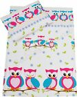 Duvet cover+Pillowcase/Curtains - Baby/Toddler,/Junior GREEN OWLS WITH SQUIRREL