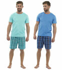 Mens Woven Check Shorts PolyCotton Top  Set Pjs Sleeping Night Suit Gift