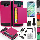 EEEKitfor Galaxy S6 Edge Plus Heavy Duty Rugged Armor Card Slot Wallet Case+Film