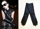 Classic Quilted Bow Faux Leather Long Gloves Arm warmer Xmas Designer Inspired