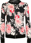 Womens Floral Crepe Print Zip Up Long Sleeve Top Ladies Coat Bomber Jacket 8-14
