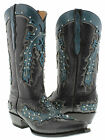 New Women's Black Cowboy Boots Ladies Casual Hand Made Studded Leather Snip Toe