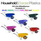 110 LITRE GARDEN/EQUESTRIAN PLASTIC WHEELBARROW BLUE/GREEN/LILAC/PINK/RED/YELLOW