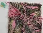 rag quilt mossy oak break up pink real tree pacifier holder lovey burp cloth
