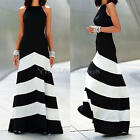 Sleeveless Back Crossed Zebra Striped Evening Party Chiffon Maxi Dress for Lady