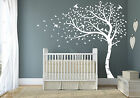 Premium Full Size White Matte Sweeping Autumn Tree and Birds Nursery Wall Decal