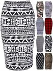 Womens New Leopard Skull Aztec Printed Ladies Midi Straight Stretch Pencil Skirt
