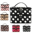 Women Portable Cosmetic Retro Dot Pattern Beauty Makeup Hand Case Bag US Stock