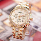 Luxury Geneva Crystal Women Watches Stainless Steel Fashion Quartz Wrist Watch