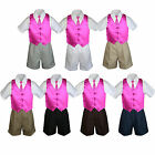 4pc Set Boy Toddler Formal Fuchsia Pink Vest and Necktie Black Khaki Shorts S-4T