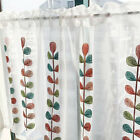 Embroidered leaves white Home Kitchen Sheer Cafe Curtain 16031101