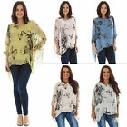 New Ladies Italian Fashion Silk Butterfly Floral Print Top Plus Size 10 12 14 16
