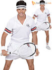 Mens Tennis Player Costume Adults Sport Relief Fancy Dress + Sweatband Outfit