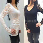 Lady Women Casual Solid Hollow Lace Crochet Bottoming Shirt Blouse Cotton Tops