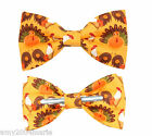 Thanksgiving Turkeys and Chickens Clip On Cotton Bow Tie