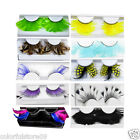 New 1 Pair Multicolor Sexy Long False Feather Eyelashes Makeup Eye Lashes Party
