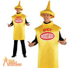 Adult Mustard Bottle Costume Hotdog Food and Drink Funny Fancy Dress Outfit New