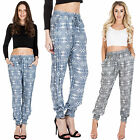 New Womens Repeat Mirror Pattern Harem Pants Ali Baba Trousers S M L 8 10 12