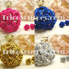 "Ribbon Rose Silk Flower 180 Flowers (Gold&Silver 120Flowers) 0.5"" Flower-RP4001"