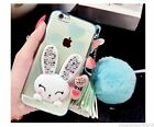 Crystal Diamond Luxury Warm Rabbit Fur Suppot Case Cover For iPhone 6S/Plus/SE