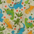 "per 1/2 metre/fat quarter 100 % cotton Cream Dinosaur fabric  58 "" wide"