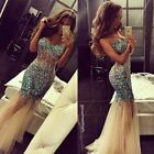 Sexy Crystal Sweetheart Party Gowns Sleeveless  Knee See-Through Prom Dress