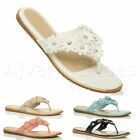 WOMENS LADIES FLAT FLOWER DIAMANTE SUMMER BEACH FLIP FLOPS TOE POST SANDALS SIZE
