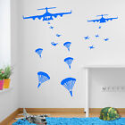 Army Military Helicopter Parachute Soldier Wall Window Stickers Decals Kids A354