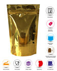 GOLD SHINY HEAT SEAL ALUMINIUM FOIL STAND UP BAGS / POUCHES ZIP LOCK FOOD GRADE